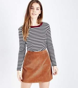New Look Tan Corduroy A-Line Mini Skirt