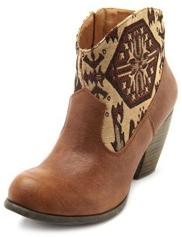 Charlotte Russe Stitched Western Ankle Bootie