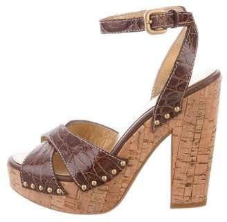 Prada Platform Crocodile Sandals