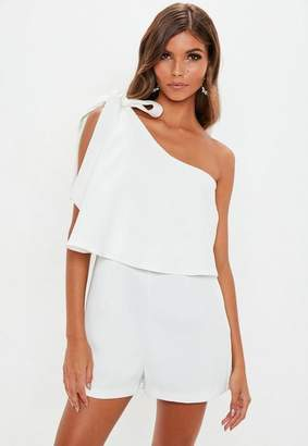 Missguided White One Shoulder Romper