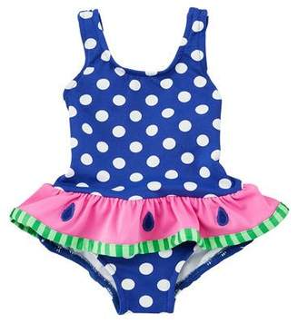 Florence Eiseman Polka-Dot One-Piece Swimsuit w/ Watermelon Ruffle, Size 6-24 Months
