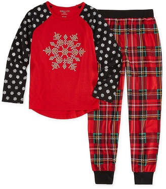 Asstd National Brand Holiday Snowflake 2pc Pant Pajama Set - Girls