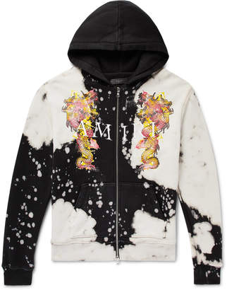 Amiri Logo-Embroidered Printed Loopback Cotton-Jersey Zip-Up Hoodie - Men - Black