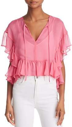 Bailey 44 Go With The Flow Ruffled Silk Top