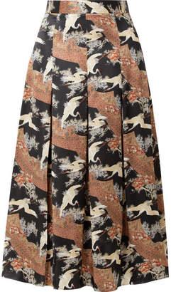 Co Printed Pleated Silk-satin Midi Skirt - Brown