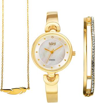 Burgi Women's Alloy Diamond Watch, Bangle, & Necklace Set
