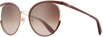 Salvatore Ferragamo Metal Cat-Eye Sunglasses