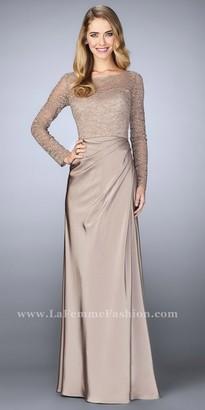La Femme Long Sleeve Rhinestone Pleated Evening Dress $478 thestylecure.com