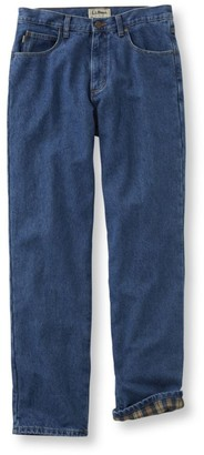 L.L. Bean L.L.Bean Men's Double LA Jeans, Flannel-Lined Natural Fit