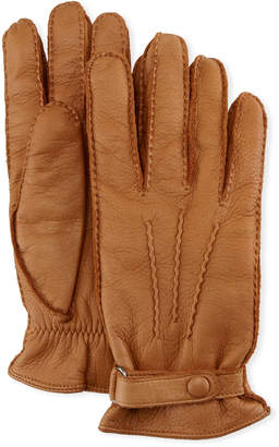 Neiman Marcus Hestra Gloves Winston Snap Leather Cashmere-Lined Gloves