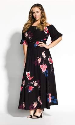 City Chic Citychic Spring Lotus Maxi Dress - black