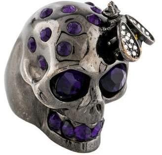 Alexander McQueen Crystal Skull Cocktail Ring
