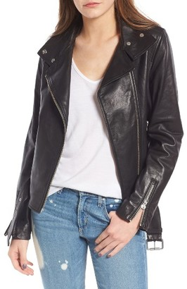 Women's Mackage Belted Leather Moto Jacket $705 thestylecure.com