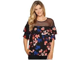 Vince Camuto Short Sleeve Ballard Floral Babydoll Mesh Yoke Blouse Women's Blouse