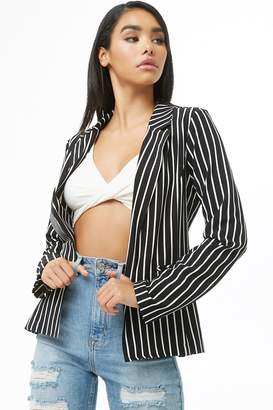 Forever 21 Striped Open-Front Blazer