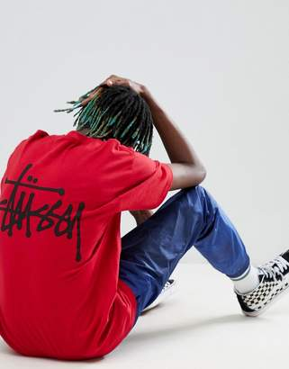 Stussy T-Shirt With Basic Logo Back Print in Red