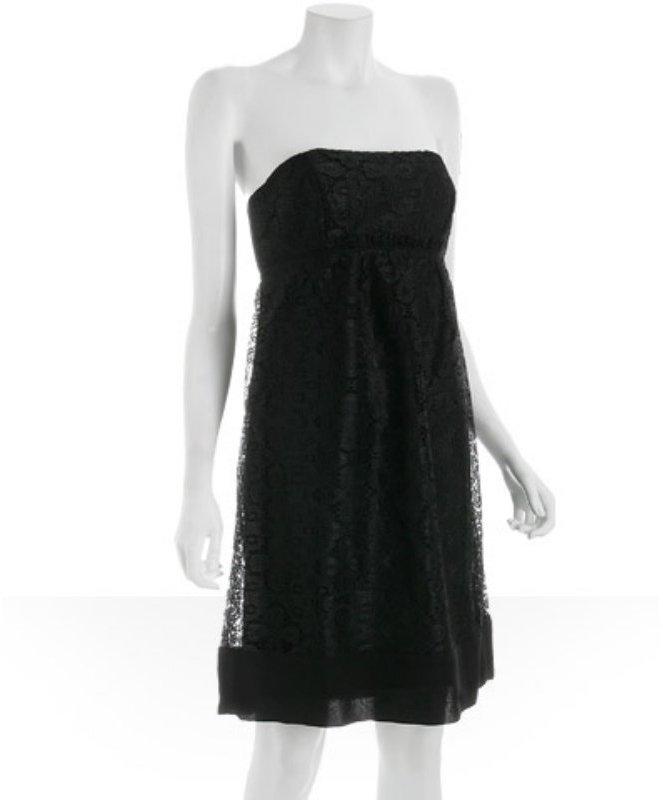 Shoshanna black lace ruffle detail strapless dress