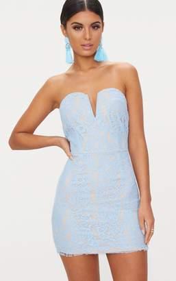 PrettyLittleThing Dusty Blue Bandeau Lace V Bar Bodycon Dress