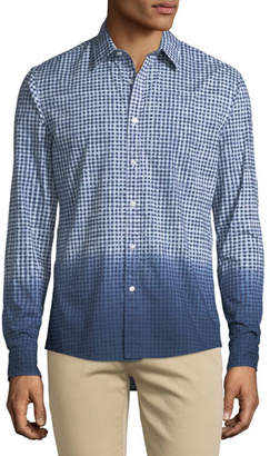 Michael Kors Men's Dip-Dyed Gingham Button-Down Shirt