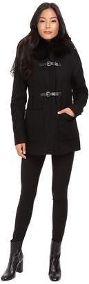 Calvin Klein Fur Trimmed Toggle w/ Oversized Pockets Women's Coat