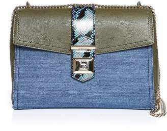 Jimmy Choo MARIANNE SHOULDER BAG Navy Mix Grainy Calf Leather Denim and Printed Ayers Shoulder Bag