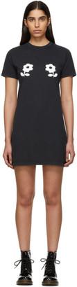 ALEXACHUNG Black Double Daisy T-Shirt Dress