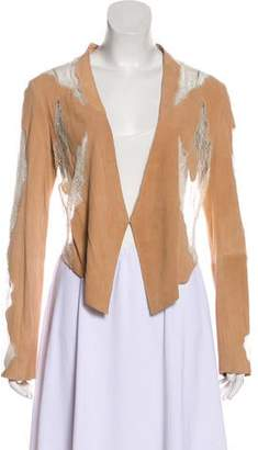 Haute Hippie Lace-Trimmed Long Sleeve Cardigan