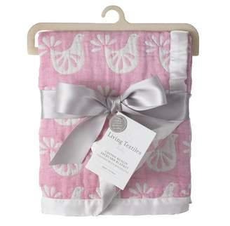 Living Textiles Baby Muslin Jacquard Crib Blanket Pink Bird