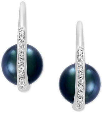 Effy Pearl Lace by Cultured Black Tahitian Pearl (8mm) and Diamond (1/8 ct. t.w.) Drop Earrings in 14k White Gold