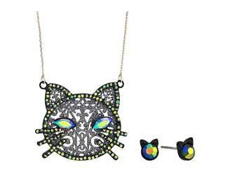 Betsey Johnson Cat Pendant Necklace Stud Earrings Set