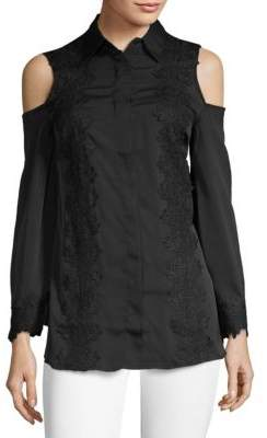 Laced Cold-Shoulder Button-Down Shirt