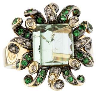 Ring 18K Diamond, Tourmaline & Garnet Cocktail