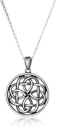 Celtic Sterling Oxidized Knot Medallion Pendant Necklace