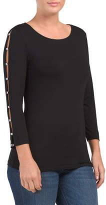 Boat Neck With Rhinestone Detail