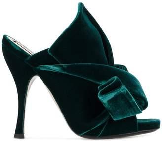 No.21 Green Velvet Bow 110 Mules