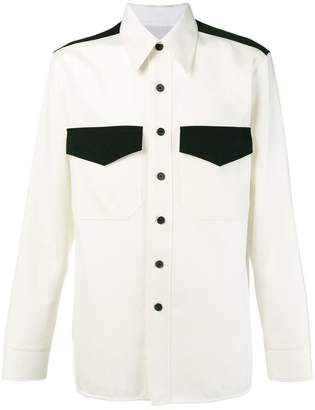 Calvin Klein virgin wool contrast panel shirt