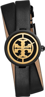 Tory Burch REVA DOUBLE-WRAP WATCH, BLACK LEATHER/BLACK-TONE, 29MM