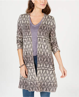 Style&Co. Style & Co Printed Long Cardigan Sweater, Created for Macy's