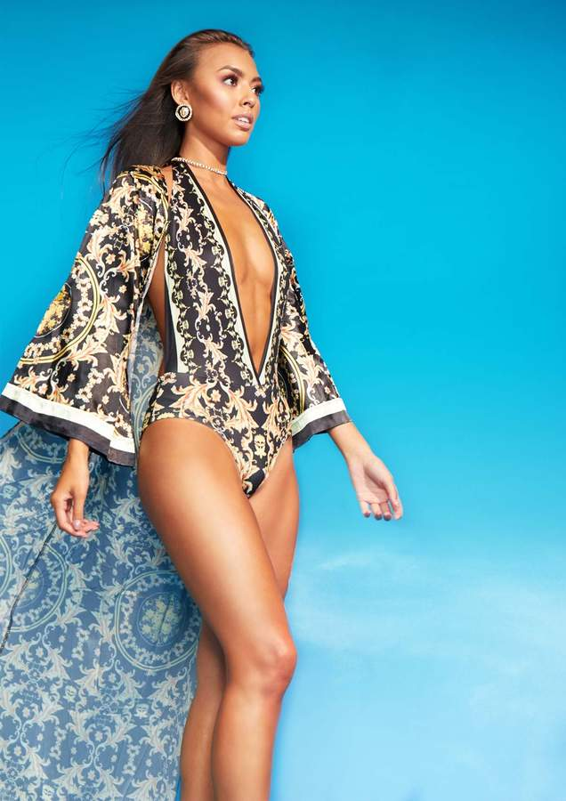 Missyempire Ember Black Scarf Print Swimsuit Kimono Set