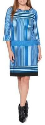 Rafaella Striped Bell-Sleeve Dress