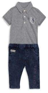 Diesel Baby's Two-Piece Collared Bodysuit and Elasticized Pants Set