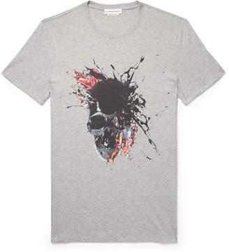 Alexander McQueen Slim-Fit Printed Mélange Cotton-Jersey T-Shirt