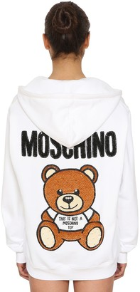 Moschino Logo Zip-Up Cotton Sweatshirt Hoodie