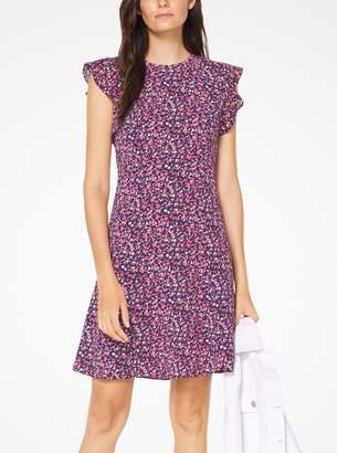 MICHAEL Michael Kors Floral Crepe Flounce-Sleeve Dress