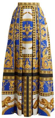 Versace Lovers Baroque Printed Silk Cotton Skirt - Womens - Blue Print