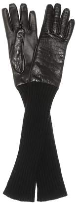 Max Mara Lani leather and wool gloves
