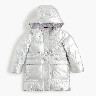 J.Crew Girls' metallic long puffer coat with eco-friendly Primaloft®