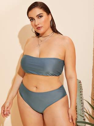 Shein Plus Bandeau Top With High Waist Bikini