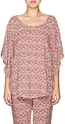 Eberjey WOMEN'S CLARA FOLKLORIC-PRINT COVER-UP TOP - PAPRIKA/LEAD SIZE S/M