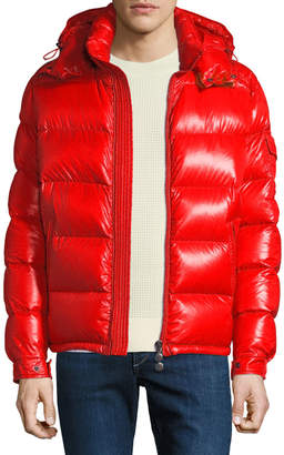 Moncler Men's Maya Shiny Down Puffer Jacket with Hood
